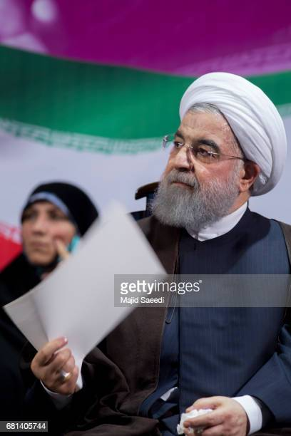 Iranian presidential candidate and current Iranian President Hassan Rouhani attends an electoral rally on May 9 2017 in Tehran Iran Presidential...