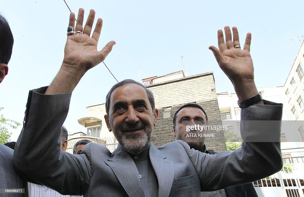 Iranian presidential candidate conservative Ali Akbar Velayati adviser to Iran's supreme leader Ayatollah Ali Khamenei waves as he arrives for a...