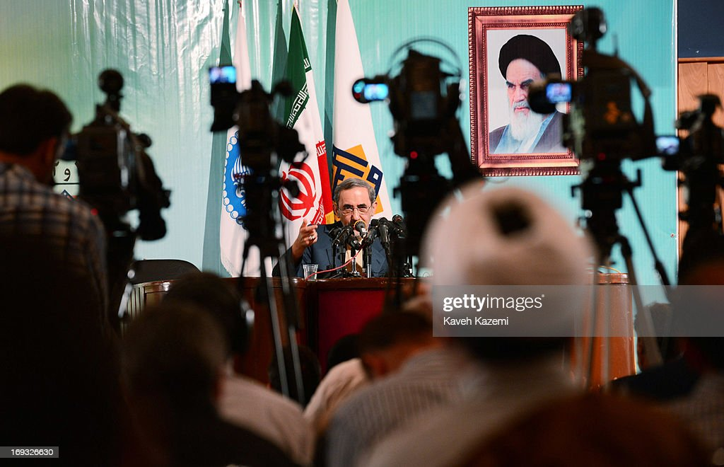 Iranian presidential candidate Dr. <a gi-track='captionPersonalityLinkClicked' href=/galleries/search?phrase=Ali+Akbar+Velayati&family=editorial&specificpeople=1114721 ng-click='$event.stopPropagation()'>Ali Akbar Velayati</a>, the former foreign minister of Iran and a special adviser to the supreme Iranian leader Ayatollah Ali Khamenei, speaks about his presidential agenda at Tehran University on May 23, 2013 in Tehran, Iran. Velayati is one eight candidates approved to run in the June 14, presidential election to succeed President Mahmoud Ahmadinejad.