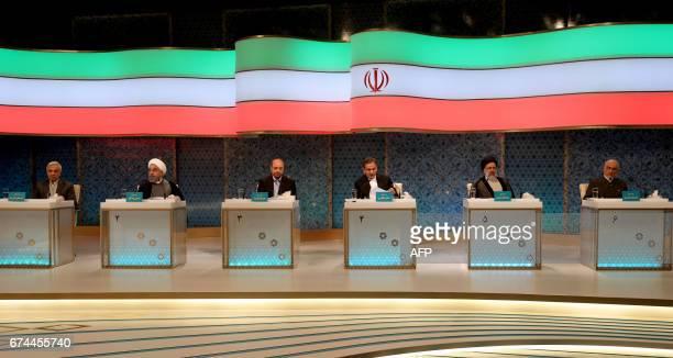 Iranian presidential candidates Mostafa Hashemitaba Hassan Rouhani Mohammad Baqer Qalibaf Eshaq Jahangiri Ebrahim Raisi and Mostafa Mirsalim attend a...