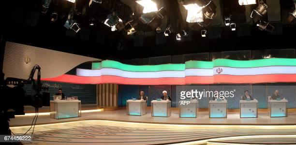 Iranian presidential candidates Mostafa Mirsalim Hassan Rouhani Mohammad Baqer Qalibaf Eshaq Jahangiri and Ebrahim Raisi attend a live debate on...