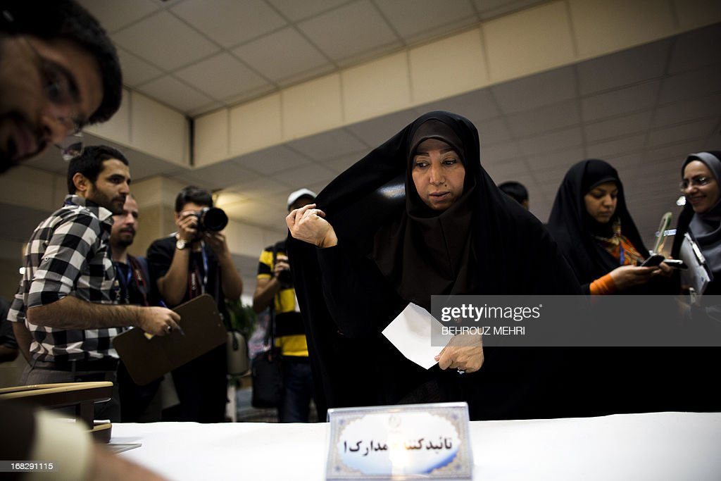 Iranian Razieh Omidvar registers her candidacy for the upcoming presidential election at the interior ministry in Tehran on May 8, 2013. Iran began a five-day registration period for candidates in Iran's June 14 presidential election, with a string of conservative hopefuls in the running but with key reformists yet to come forward, media reports said.