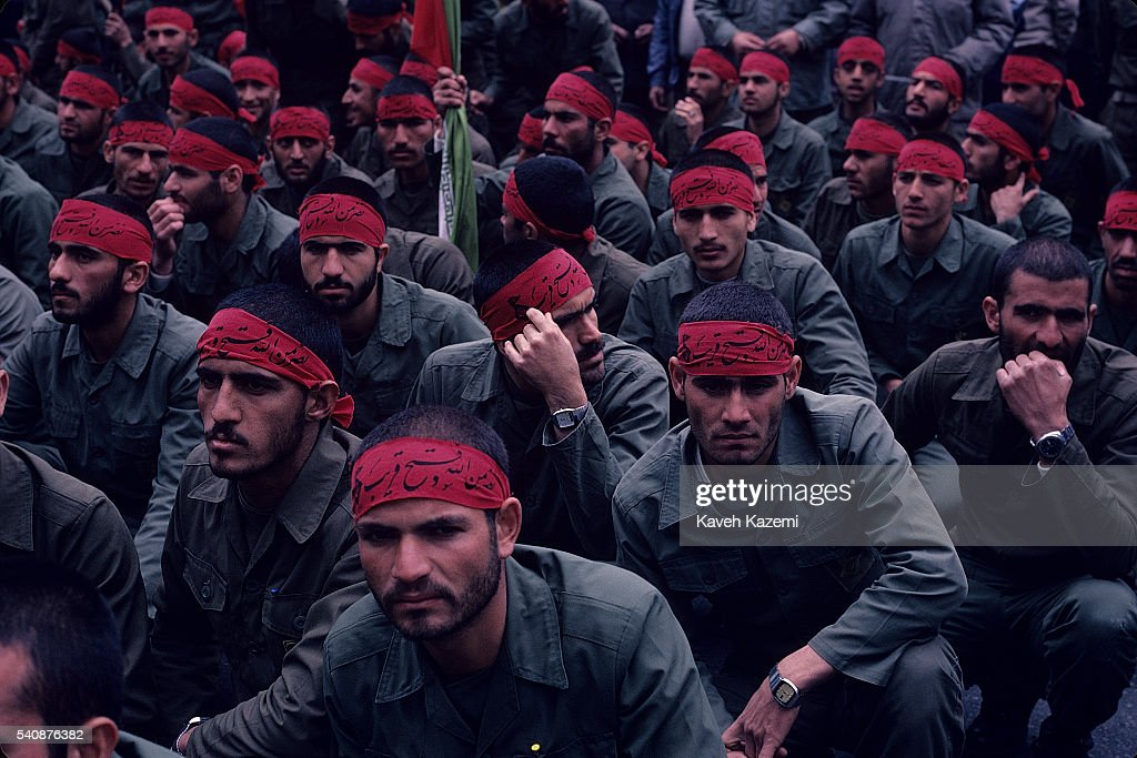 Iranian Revolutionary Guards in red headbands gather in Imam Hussein Square in Tehran during the IranIraq War 16th May 1985