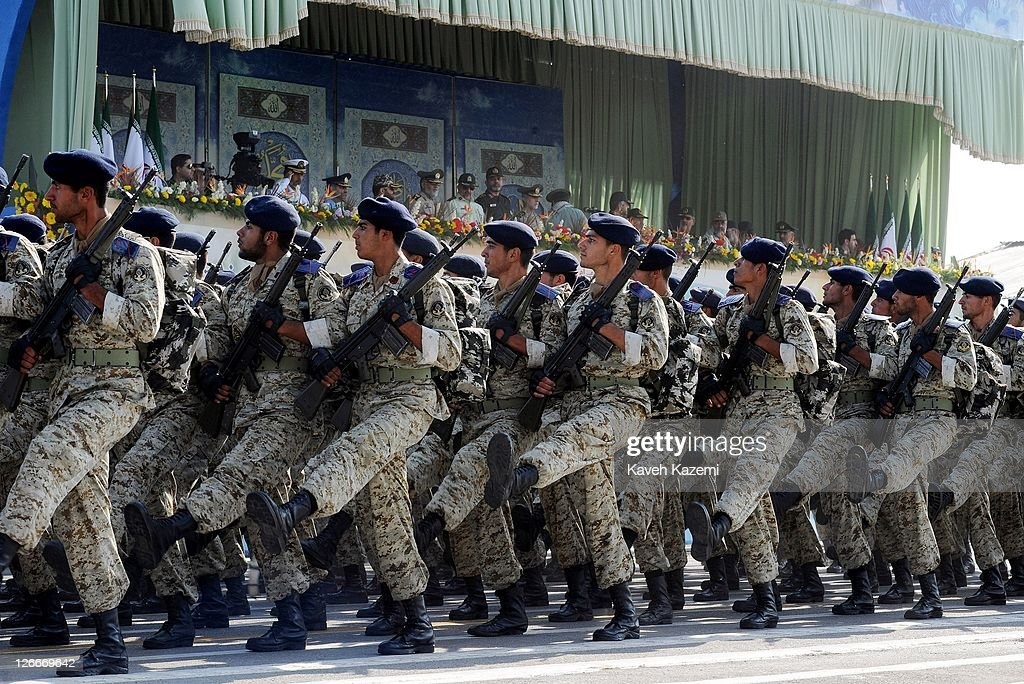 Iranian Revolutionary Guards march during a parade commemorating the 31st anniversary of IranIraq war on September 22 2011 in Tehran Iran Iran is...