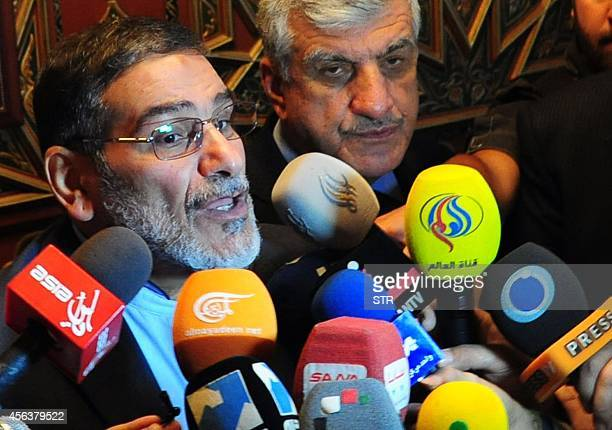 Iranian secretary of the Supreme National Security Council Ali Shamkhani speaks to reporters at the Damascus airport on September 30 2014 AFP PHOTO/...