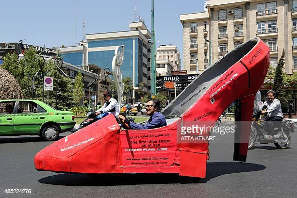 GHAZI Iranian shoeshine man Mohammad Ali Hassan Khani whose nickname is Aliwaxima drives his racyred motorized stiletto on a street on August 19 2015...