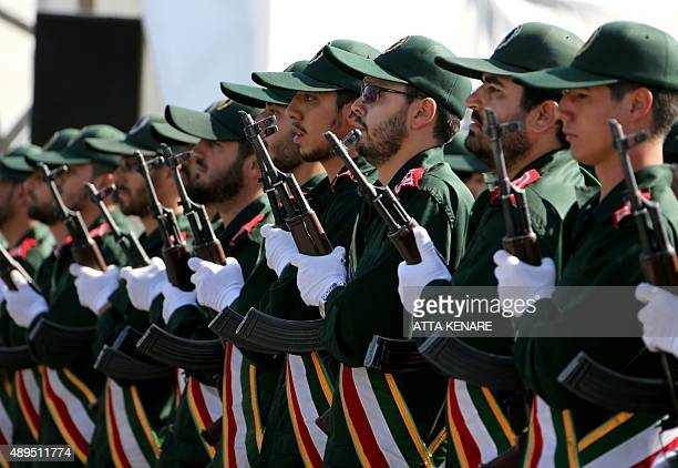 Iranian soldiers from the Revolutionary Guards march march during the annual military parade marking the anniversary of the start of Iran's 19801988...