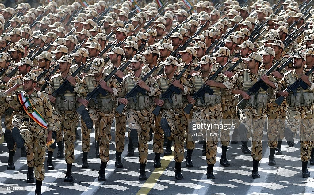 Iranian soldiers march during the annual Army Day military parade on April 18 2014 in Tehran AFP PHOTO/ATTA KENARE