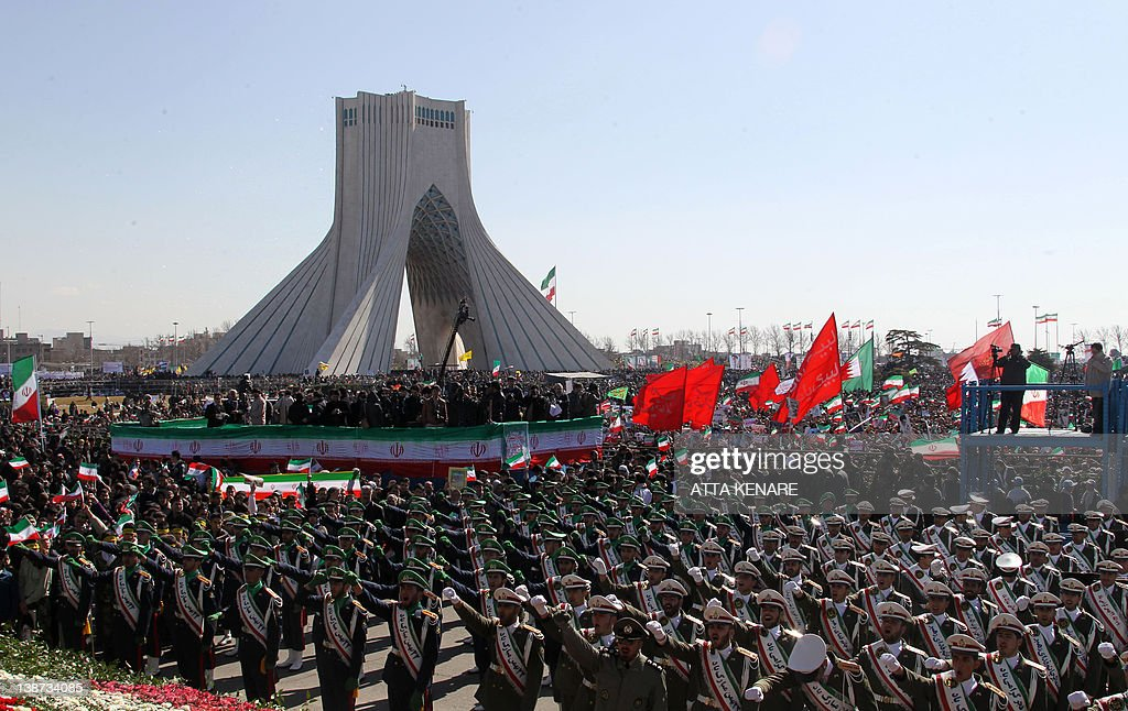 Iranian soldiers take part in celebrations marking the 33rd anniversary of the Islamic revolution at Tehran's Azadi Square on February 11 2012 A...
