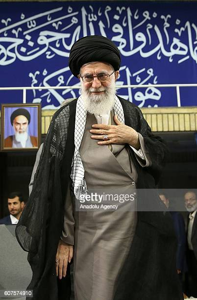 Iranian supreme leader Ayatollah Ali Khamenei greets the soldiers during Islamic Revolution Guards Corps meeting in Tehran Iran on September 18 2016