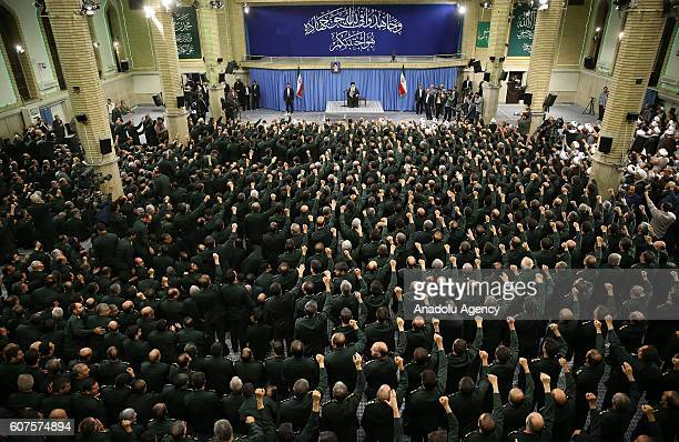 Iranian supreme leader Ayatollah Ali Khamenei holds a meeting with the Islamic Revolution Guards Corps in Tehran Iran on September 18 2016
