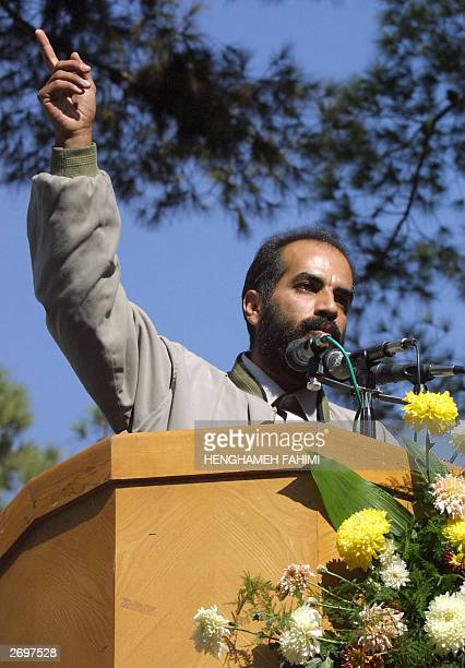 Iranian television journalists Soheil Karimi giving a speech to Iranian demonstarators in Tehran 04 November 2003 Some 10000 Iranian hardliners...