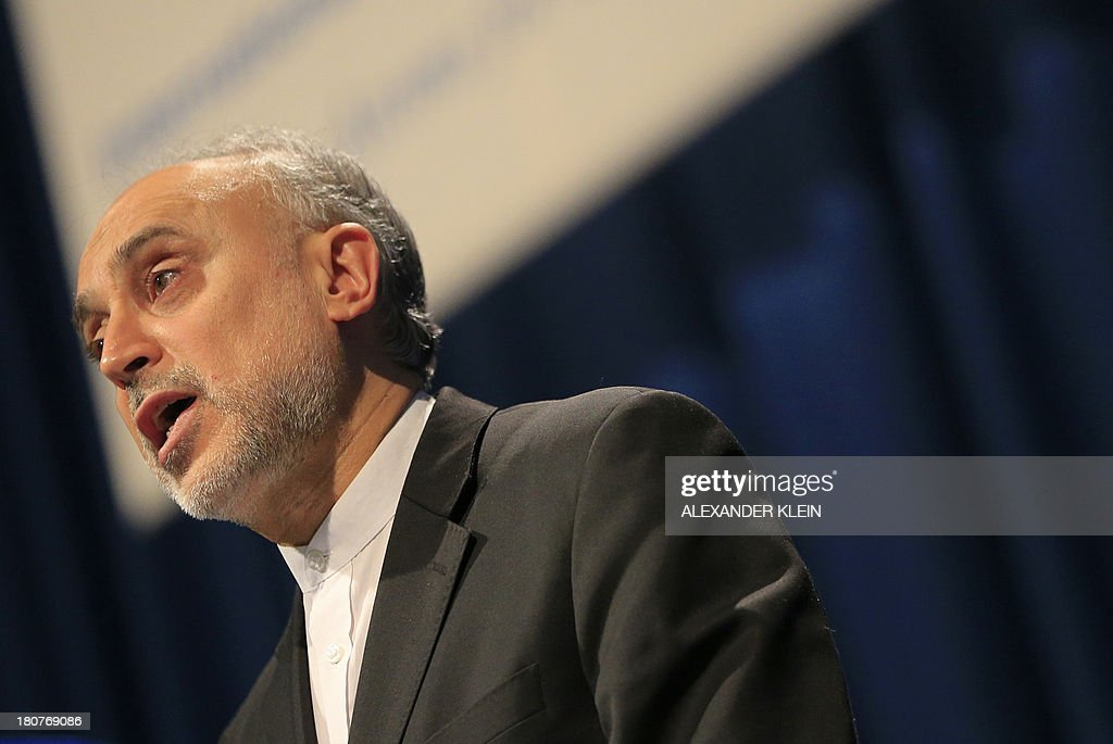 Iranian Vice-President <a gi-track='captionPersonalityLinkClicked' href=/galleries/search?phrase=Ali+Akbar+Salehi&family=editorial&specificpeople=3125551 ng-click='$event.stopPropagation()'>Ali Akbar Salehi</a> delivers a speech during the 57th General Conference of the International Atomic Energy Agency IAEA at the UN atomic agency headquarters in Vienna, Austria on September 16, 2013. Iran's new nuclear chief said Monday, September 16, 2013 that Tehran was 'optimistic' about upcoming talks with world powers, offering 'enhanced' but unspecified cooperation with the UN atomic agency.