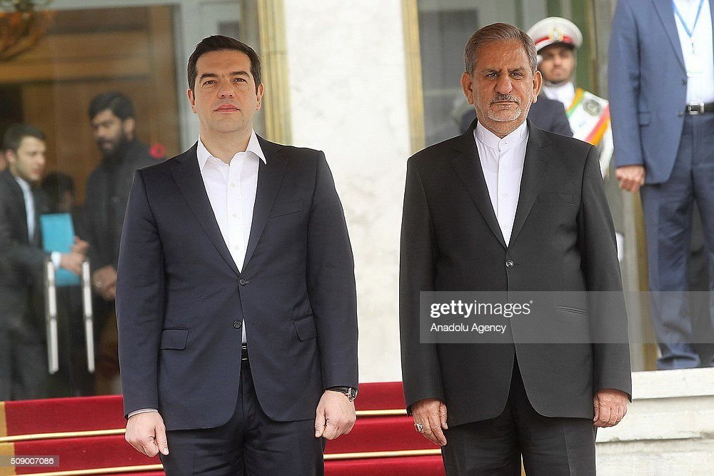 Iranian Vice-President Eshagh Jangiri (C-L) and Greek Prime Minister Alexis Tsipras (C-R) inspect the Iranian honor guard during a welcome ceremony in Tehran, Iran on 08 February 2016. Tsipras visits Tehran to meet with Iranian officials.