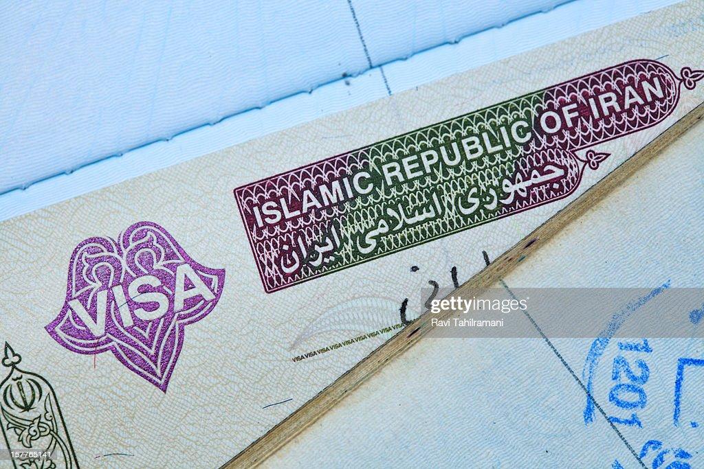 Iranian visa stamp in a passport : Stock Photo