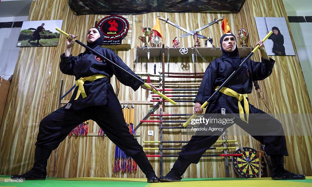 Iranian women are seen as they are trained to become ninjas to be able to defend themselves at the Rafah Sports Hall in Tehran, Iran on May 3, 2016.