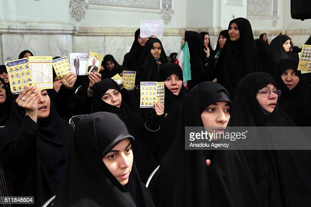 Iranian women attend a meeting of Iran's main conservative parties ahead of the upcoming parliamentary elections on February 23 2016 at Motahari in...