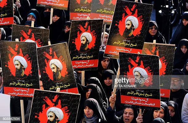 Iranian women gather during a demonstration against the execution of prominent Shiite Muslim cleric Nimr alNimr by Saudi authorities at Imam Hossein...