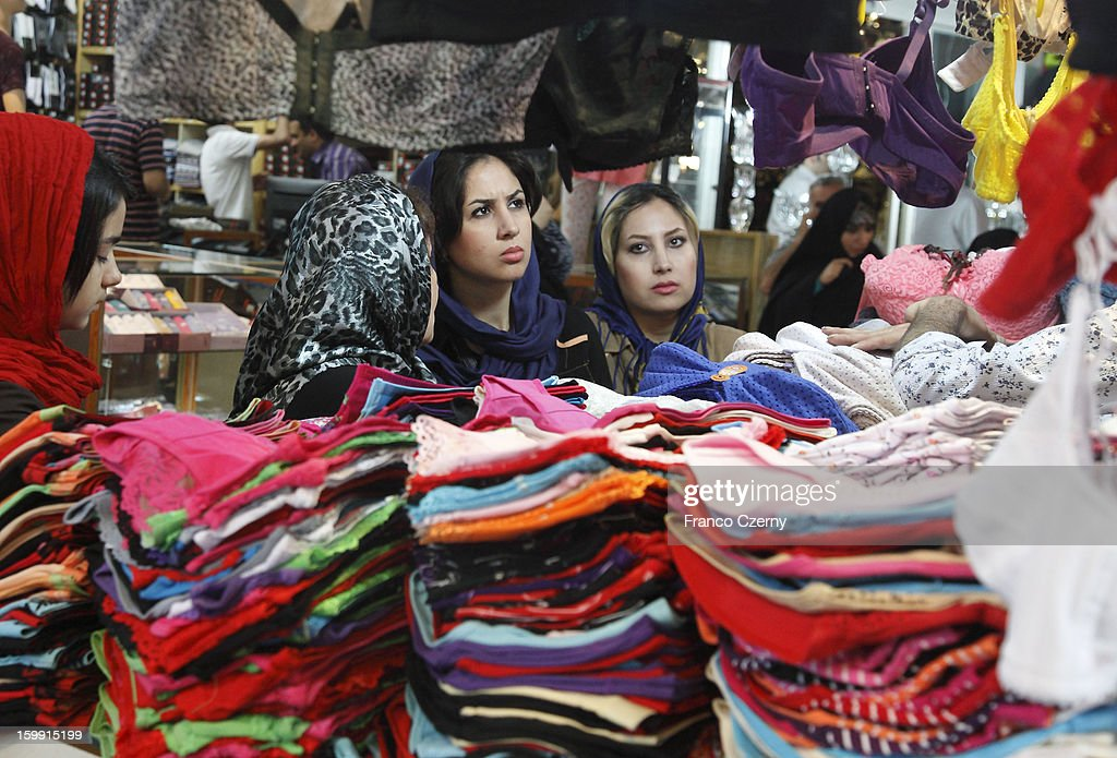 Iranian women shop at a Bazar on August 13, 2012 in Tehran, Iran.