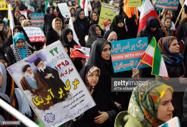 Iranian women take part in a rally marking the anniversary of the 1979 Islamic revolution on February 10 in the capital Tehran Millions of Iranians...