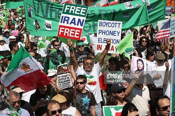 IranianAmericans and supporters march to protest what they say are crimes against humanity and democracy committed by the government of Iran during...