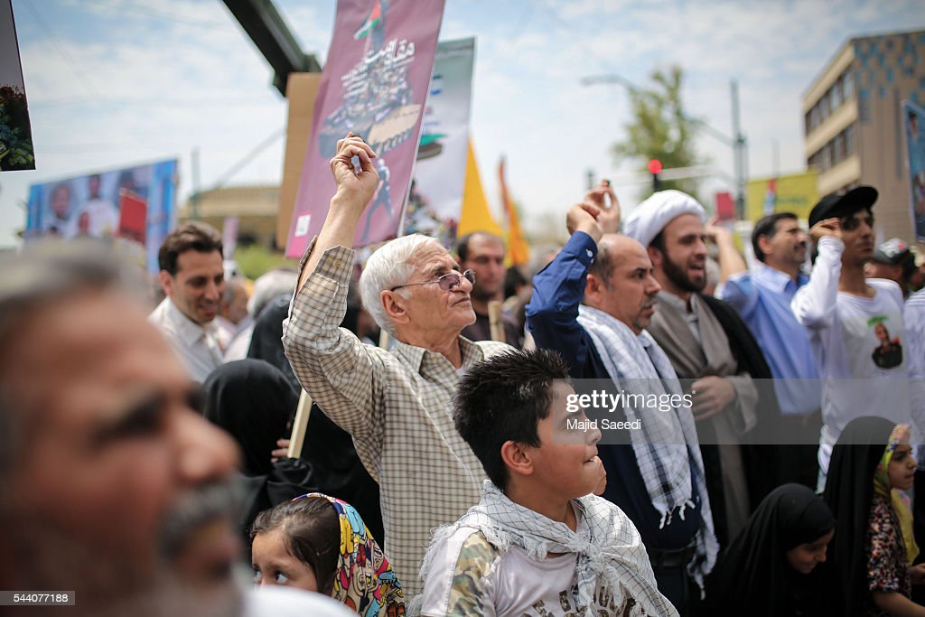 Iranians attend an annual pro-Palestinian rally marking Al-Quds (Jerusalem) Day on July 1, 2016 in Tehran, Iran. Iranians staged anti-Israel rallies across the country as tens of thousands of people marched in the capital Tehran marking al-Quds day held each year on the last Friday of Muslim holy month of Ramadan. Iran does not recognize Israel and has marked al-Quds day since the start of its 1979 Islamic revolution. Al-Quds is a historic Arabic name for Jerusalem, and Iran says the day is an occasion to express support for the Palestinians and emphasize the importance of Jerusalem for Muslims.