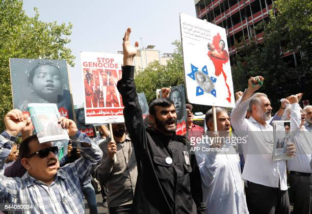 Iranians take part in a protest against violence in Myanmar after weekly Friday prayer in Tehran on September 08 2017 Iran's foreign minister has...