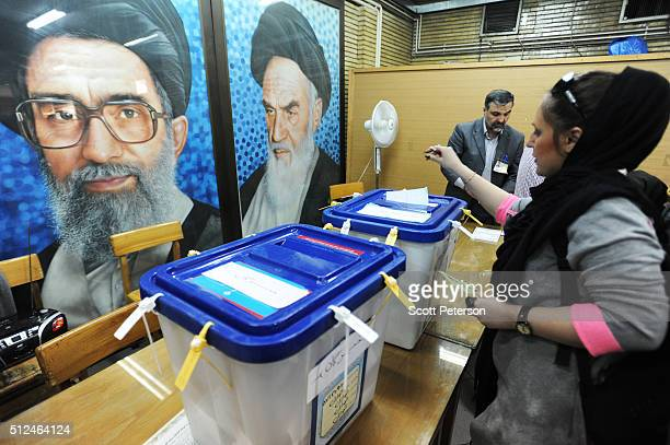 Iranians vote in key elections for Parliament and the Assembly of Experts in Tehran Iran on February 26 2016 The vote is essentially a referendum on...