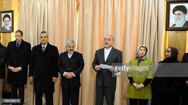 Iran's atomic chief and acting Foreign Minister Ali Akbar Salehi addresses a group of foreign diplomats visiting the heavy water facility at Arak...
