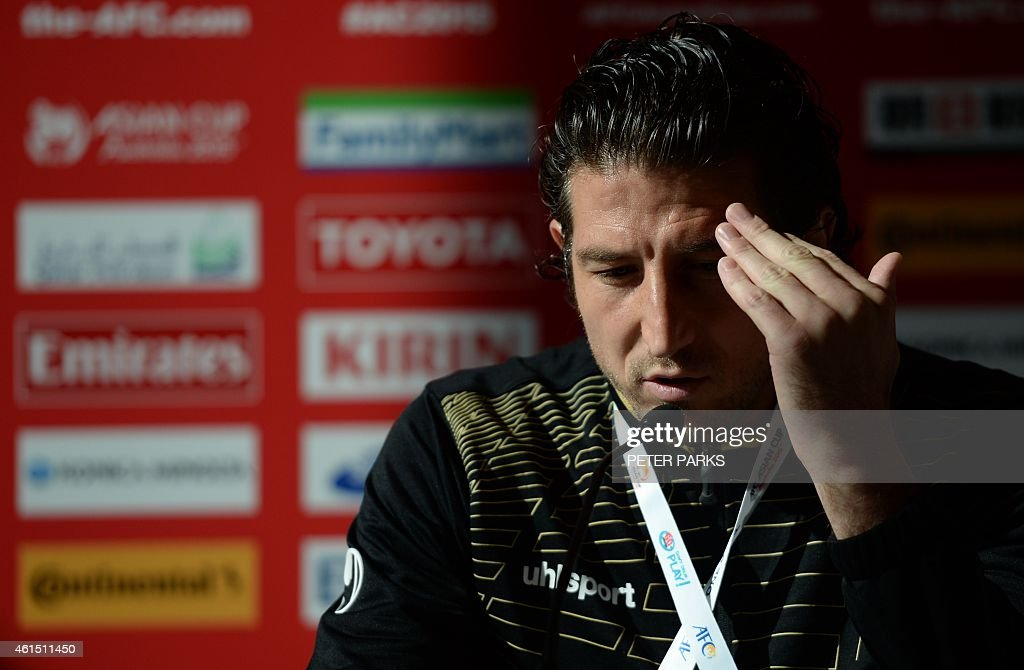 Iran's captain <a gi-track='captionPersonalityLinkClicked' href=/galleries/search?phrase=Andranik+Teymourian&family=editorial&specificpeople=551220 ng-click='$event.stopPropagation()'>Andranik Teymourian</a> attends a press conference for the AFC Asian Cup in Sydney on January 14, 2015. AFP PHOTO/Peter PARKS --IMAGE
