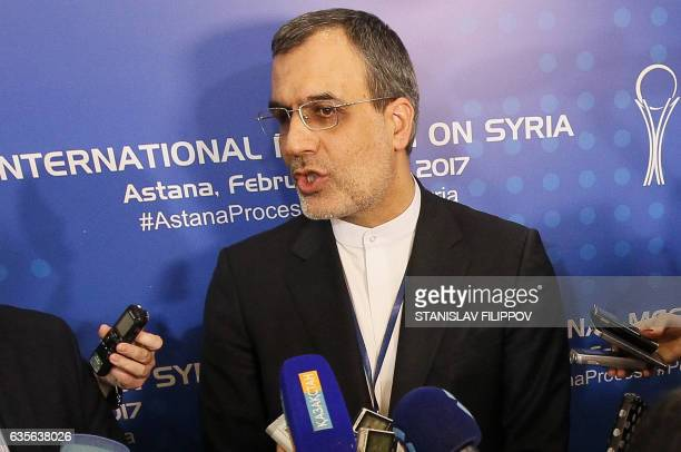 Iran's Deputy Foreign Minister Hossein Jaber Ansari speaks to the media following the second session of Syria peace talks at the Rixos President...