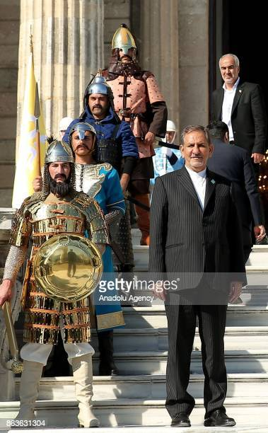 Iran's First Vice President Eshaq Jahangiri arrives to attend a dinner hosted by President of Turkey Recep Tayyip Erdogan in honour of 9th D8...