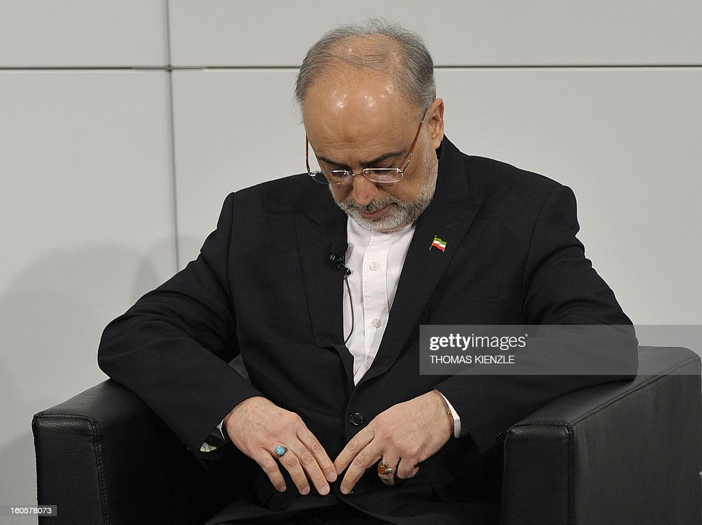 Iran's Foreign Minister Ali Akbar Salehi attends a podium discussion on the third day of the 49th Munich Security Conference on February 3, 2013 in Munich, southern Germany as world leaders, ministers and top military gather for talks with the spotlight on Syria, Mali and Iran.