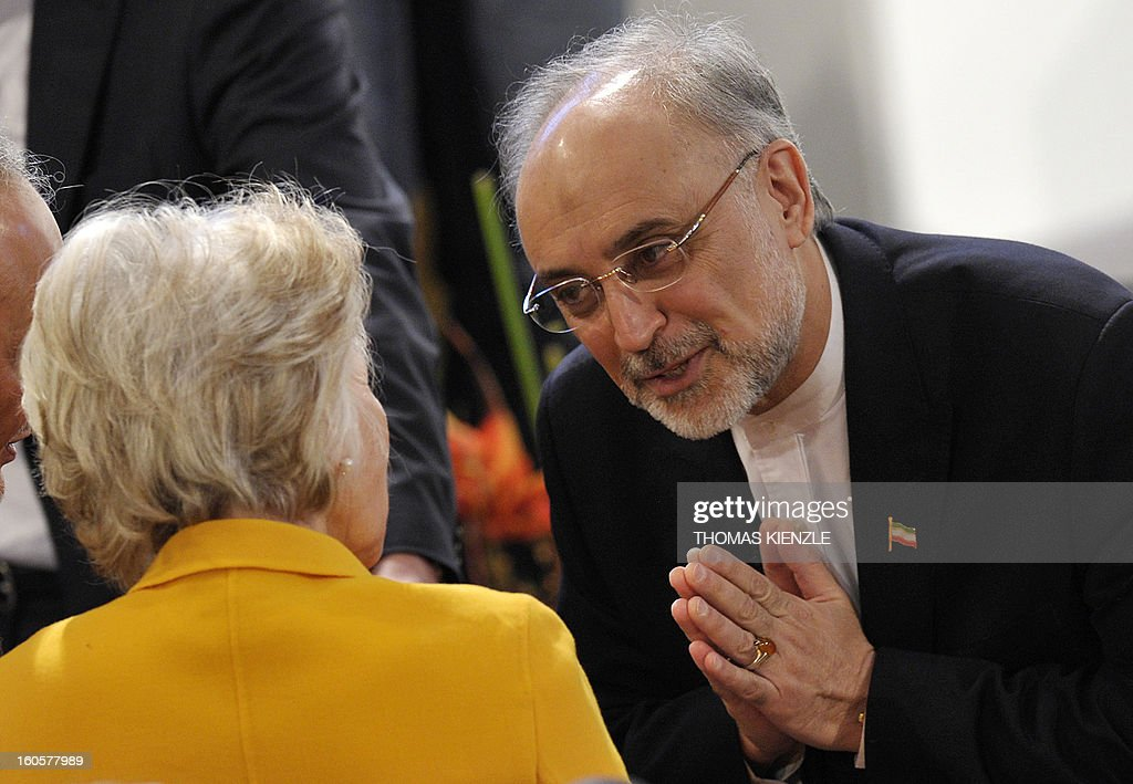 Iran's Foreign Minister Ali Akbar Salehi (R) greets US Director of the Woodrow Wilson Intenational Center for Scholars, Jane Margaret Harman on the third day of the 49th Munich Security Conference on February 3, 2013 in Munich, southern Germany as world leaders, ministers and top military gather for talks with the spotlight on Syria, Mali and Iran.