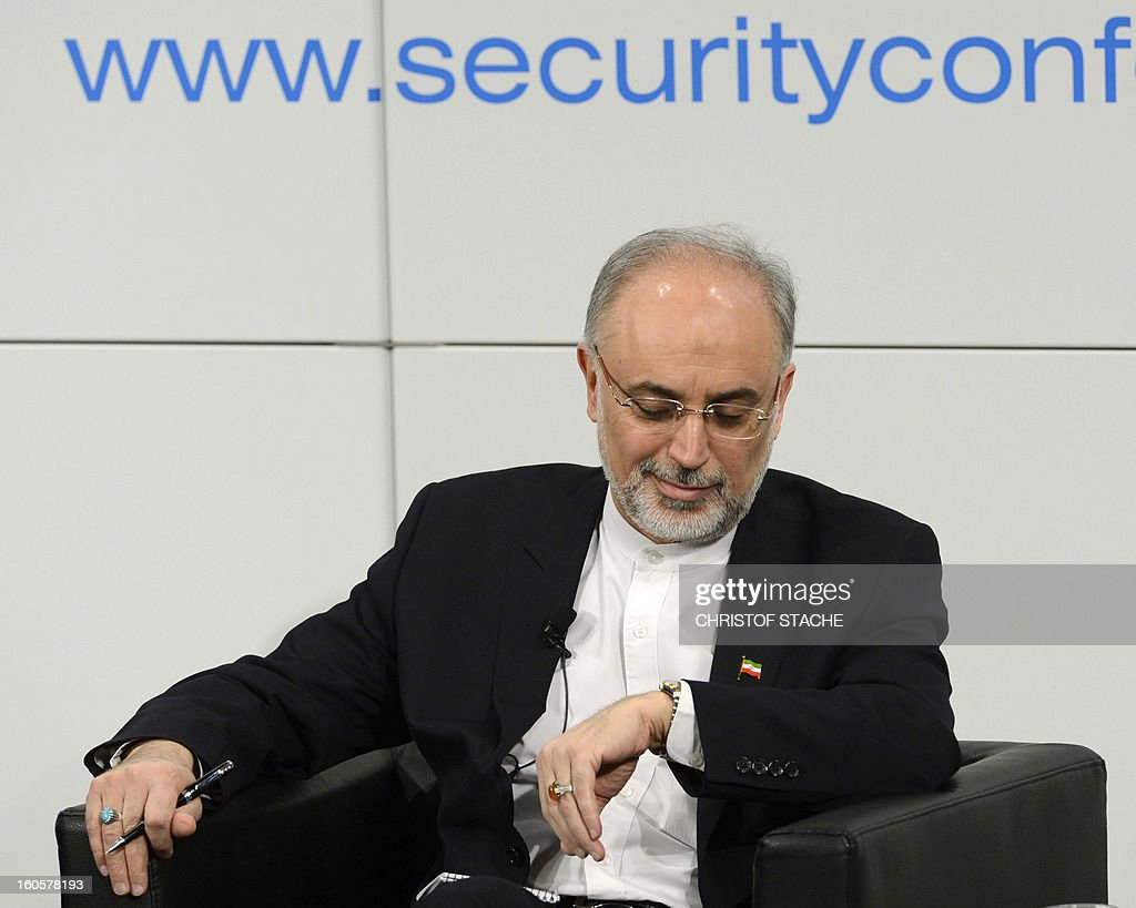 Iran's Foreign Minister Ali Akbar Salehi is pictured ahead a podium discussion on the third day of the 49th Munich Security Conference on February 3, 2013 in Munich, southern Germany as world leaders, ministers and top military gather for talks with the spotlight on Syria, Mali and Iran. AFP PHOTO / CHRISTOF STACHE