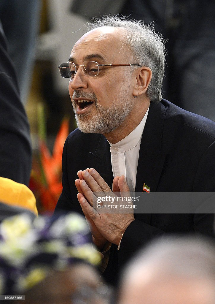Iran's Foreign Minister Ali Akbar Salehi talks to participants on the third day of the 49th Munich Security Conference on February 3, 2013 in Munich, southern Germany as world leaders, ministers and top military gather for talks with the spotlight on Syria, Mali and Iran.