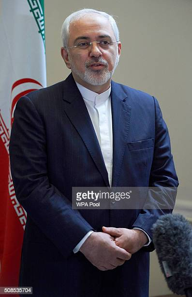 Iran's Foreign Minister Mohammad Javad Zarif addresses the media on February 5 2016 in London United Kingdom