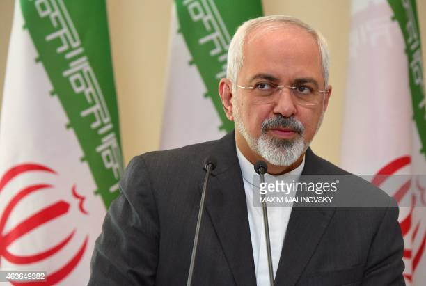 Iran's Foreign Minister Mohammad Javad Zarif attends a joint press conference with his Belarus' counterpart following their meeting in Minsk on...