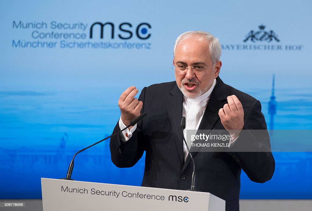 Iran's Foreign Minister Mohammad Javad Zarif speaks at the 52nd Munich Security Conference (MSC) in Munich, southern Germany, on February 12, 2016 KIENZLE