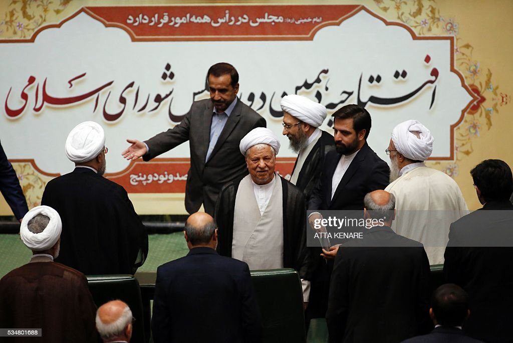 Iran's former president Ayatollah Akbar Hashemi Rafsanjani (C) attends the opening session of the new parliament in Tehran on May 28, 2016. Iranian parliamentarians met in Tehran for the first time since elections finished in April. KENARE
