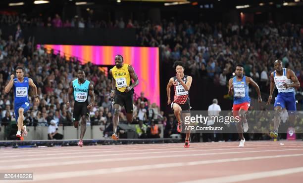 Iran's Hassan Taftian Bahamas's Warren Fraser Jamaica's Usain Bolt Japan's Shuhei Tada Colombia's Diego Palomeque and Britain's James Dasaolu compete...