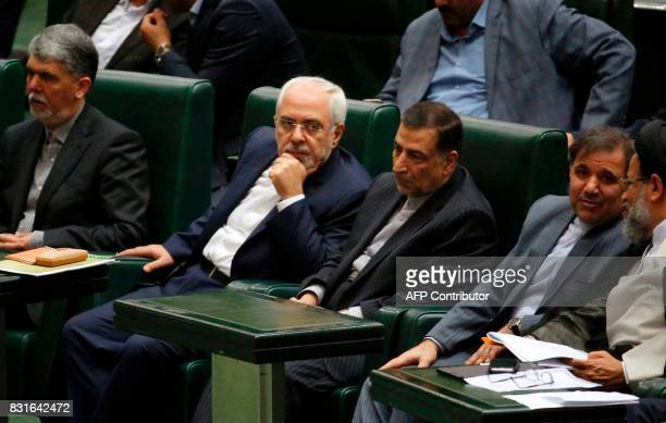 Iran's nominated Foreign Minister Javad Zarif attends a parliament session to discuss the president's proposed cabinet in Tehran on August 15 2017 /...