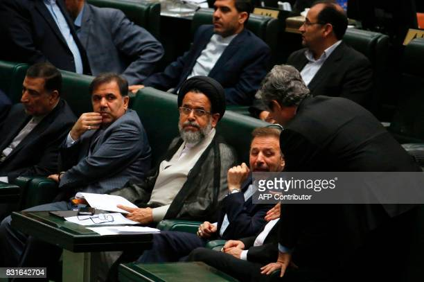 Iran's nominated Minister for Intelligence Mahmoud Alvai attends a parliament session to discuss the president's proposed cabinet in Tehran on August...