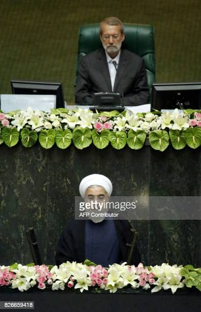 Iran's Parliament Speaker Ali Larijani attends President Hassan Rouhani's swearingin ceremony in Tehran on August 5 2017 Rouhani warned the US...