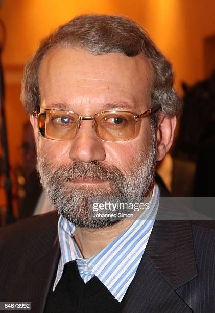 Iran's parliament speaker Ali Larijani looks on during day 1 of the Munich conference on security policy at Hotel Bayerischer Hof on February 6 2009...