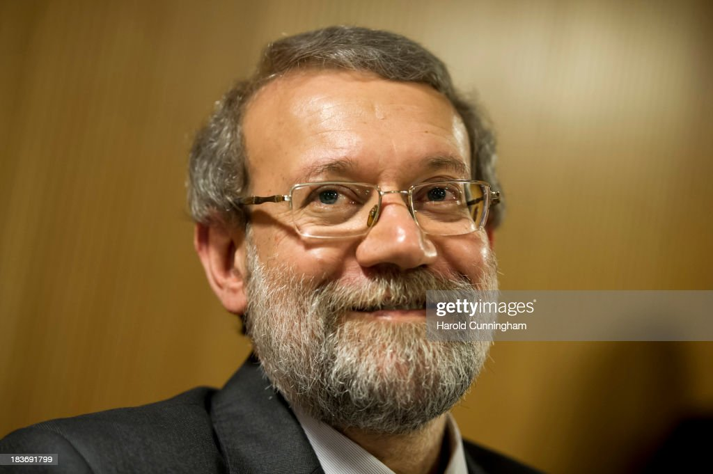 Iran's parliament speaker and former Tehran's top nuclear negotiator <a gi-track='captionPersonalityLinkClicked' href=/galleries/search?phrase=Ali+Larijani&family=editorial&specificpeople=572030 ng-click='$event.stopPropagation()'>Ali Larijani</a> speaks to members of the press aside of an International Parliamentary Union (IPU) assembly on October 9, 2013 in Geneva, Switzerland. Political leaders will meet on October 15 and 16 in Geneva to discuss Irans suspect nuclear program.