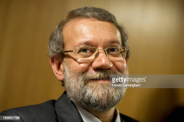 Iran's parliament speaker and former Tehran's top nuclear negotiator Ali Larijani speaks to members of the press aside of an International...
