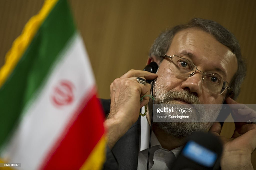 Iran's parliament speaker and former Tehran's top nuclear negotiator <a gi-track='captionPersonalityLinkClicked' href=/galleries/search?phrase=Ali+Larijani&family=editorial&specificpeople=572030 ng-click='$event.stopPropagation()'>Ali Larijani</a> speaks to members of the press after the International Parliamentary Union (IPU) assembly on October 9, 2013 in Geneva, Switzerland. Political leaders will meet on October 15 and 16 in Geneva to discuss Irans nuclear program.
