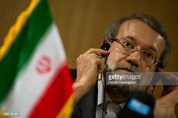 Iran's parliament speaker and former Tehran's top nuclear negotiator Ali Larijani speaks to members of the press after the International...