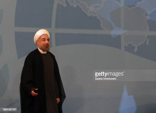 Iran's President Hassan Rouhani attends the SCO Summit on September132013 in Bishkek Kyrgyzstan Leaders of all six SCO member states have gathered in...